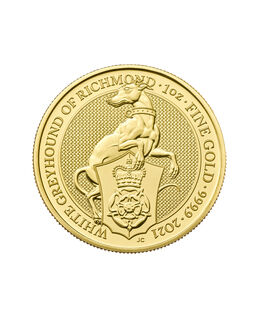 2021 Bullion Queens Beasts White Greyhound of Richmond Gold 1oz Coin.jpg